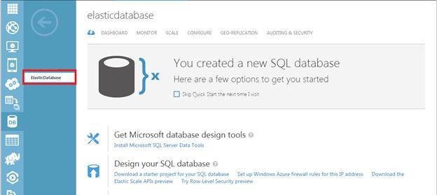 Elastic databaseの作成