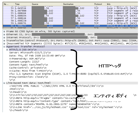 パケット詳細部 - 追加情報(HTTP)